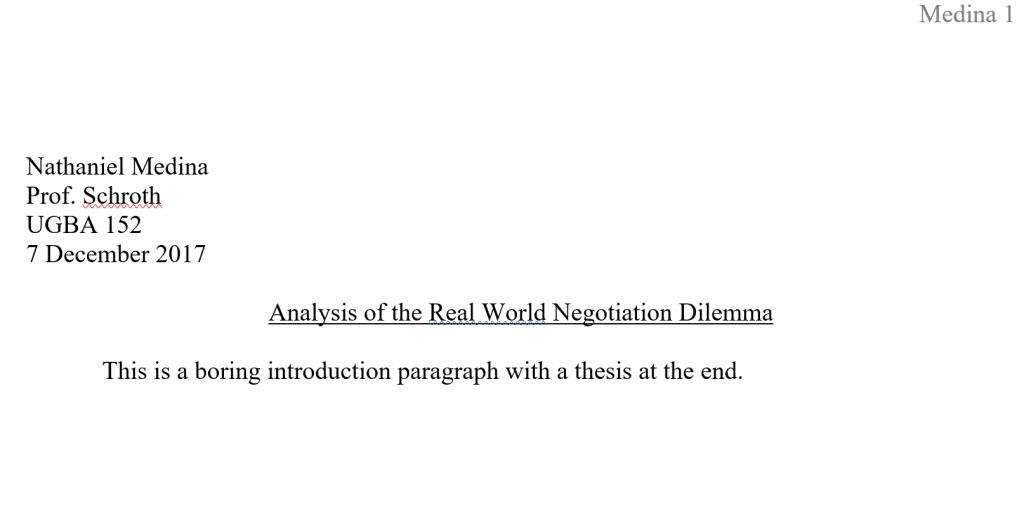 School paper MLA format